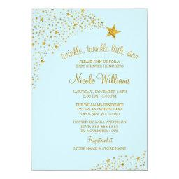 Twinkle Little Shooting Star Gold Blue Baby Shower
