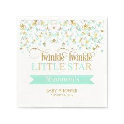 Twinkle Little Star  Mint Green Gold Napkin