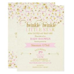 Twinkle Little Star Baby Shower Pink Gold Creme