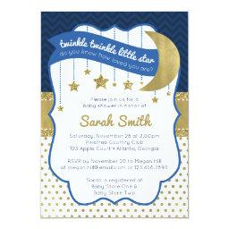 Twinkle Little Star Shower Invite, Faux Glitter