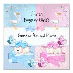 Twins Gender Reveal Party Boys or Girls Blue Pink