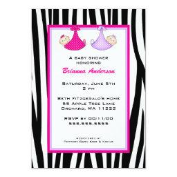 Twins Zebra Hot Pink and Purple Baby shower invite