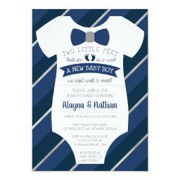 Two Little Feet  Invitation, Bow Tie