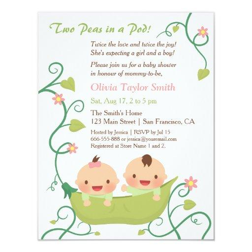 baby shower two peas in a pod twin baby shower invitations