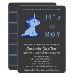 Unicorn Blue Baby Boy Shower Invitation