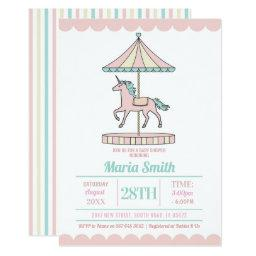 Unicorn Carousel Baby Shower Invite Pink Mint