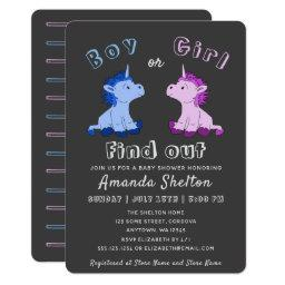 Unicorn Gender Reveal Baby Shower Invitation