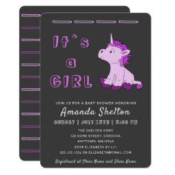 Unicorn Pink Baby Girl Shower Invitation