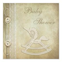 Unicorn Rocking Horse & Lace Neutral Baby Shower