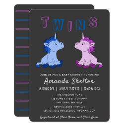 Unicorn Twins  Invitation
