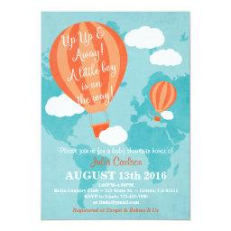 Up Up Away Baby Shower Invitation- Boy