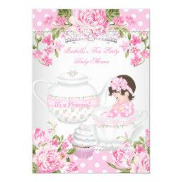 Vintage  Brunette Girl Pink Tea Party