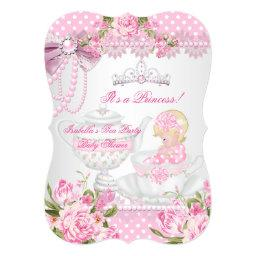 Vintage Baby Shower Cute Girl Pink Rose Tea Party