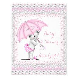 Vintage  Girl Pink Sprinkle Umbrella