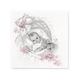 Vintage Bassinet Baby Girl Shower Napkin