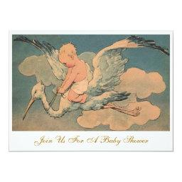 Vintage Flying Stork and Infant Gender Baby Shower
