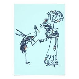 Vintage lady with Stork
