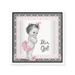 Vintage Pink and Gray Baby Shower Napkin