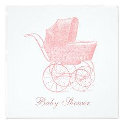 Vintage Pink Baby Carriage Baby Girl Shower