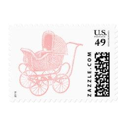 Vintage Pink Baby Carriage  Postage