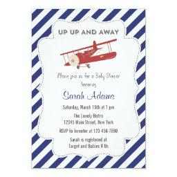 Vintage Plane Baby Shower  Red and Blue