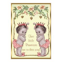 Vintage Princess Twins Roses & Hearts Baby Shower