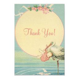 Vintage Stork Pink Girl Baby Shower Thank You