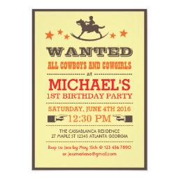 Wanted Country Western Cowboy Birthday