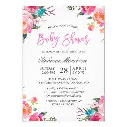 Watercolor Floral Botanical Wreath Baby Shower