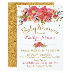 Watercolor Floral Gold Glitter Baby Shower