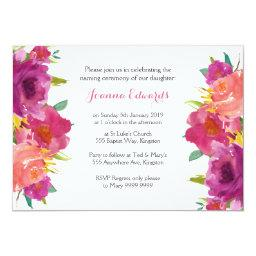 Watercolor Floral Naming Ceremony Personalized