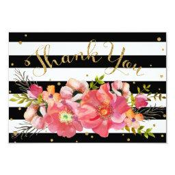 Watercolor Floral Stripe Gold Glitter Thank You