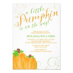 Watercolor Little Pumpkin Fall Baby Shower