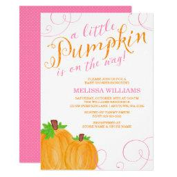 Watercolor Little Pumpkin Fall Girl Baby Shower