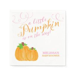 Watercolor Little Pumpkin Fall Girl Baby Shower Napkin