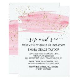 Watercolor Pink Blush & Gold Sparkle Sip and See