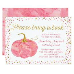 Watercolor Pumpkin Girl Baby Shower Bring a Book
