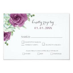 watercolor succulent plum roses wedding rsvp