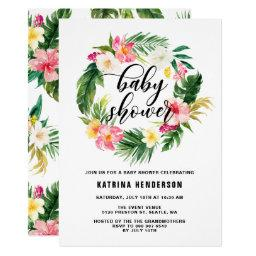Watercolor Tropical Flowers Wreath