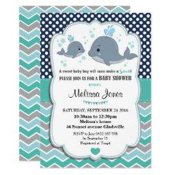 Whale Baby Shower Personalized  Baby Boy