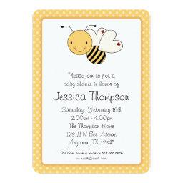 Whimsical Bumble Bee Polka Dots Baby Shower