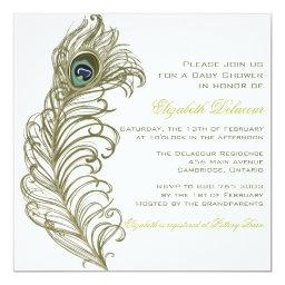 Whimsical Peacock Feather Baby Shower