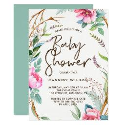 Whimsical Watercolor Wreath Baby Shower
