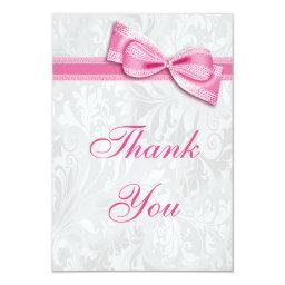 White Damask and Pink Faux Bow Thank You