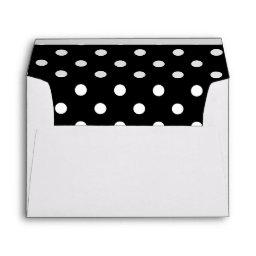 White Envelope, Black Polka Dot Lined Envelope