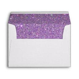 White Envelope, Purple Glitter Lined Envelope