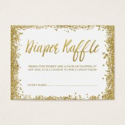 White Gold Glitter Diaper Raffle Ticket