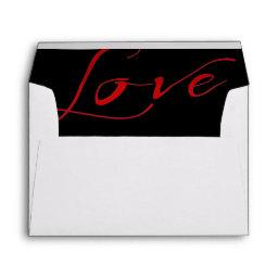 White  Envelope with Red Love Liner