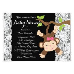 White Lace Monkey Baby Girl Shower