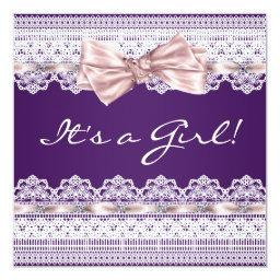 White Lace Pink Ribbon Girl Purple Baby Shower